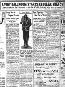 Savoy Ballroom Starts Regular Season 1930 News Article